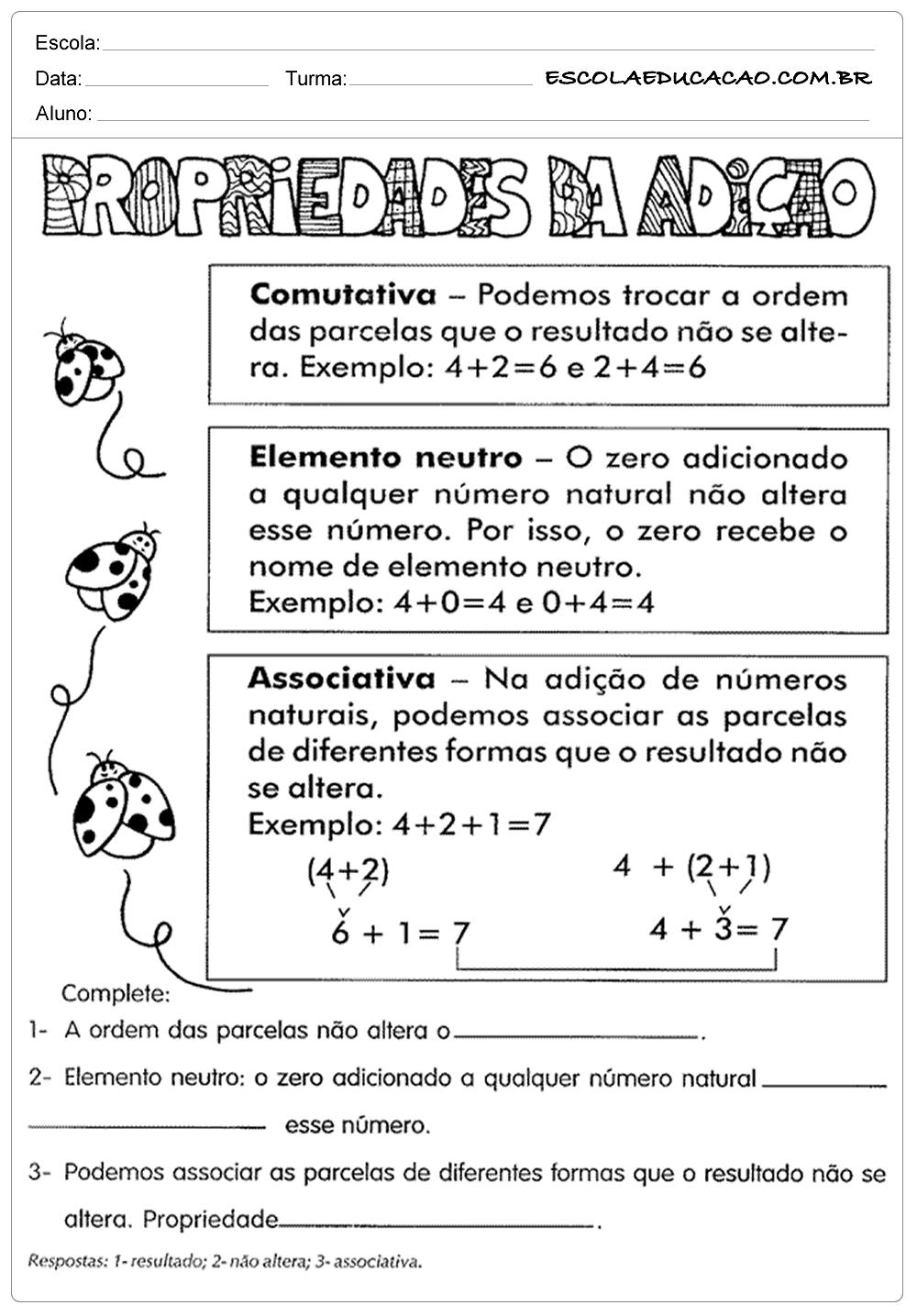 Atividades de Matemática 5 º ano – Adição