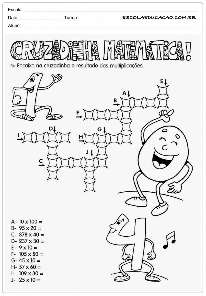 Atividades de Multiplicação 2º ano - Cruzadinha de Matemática