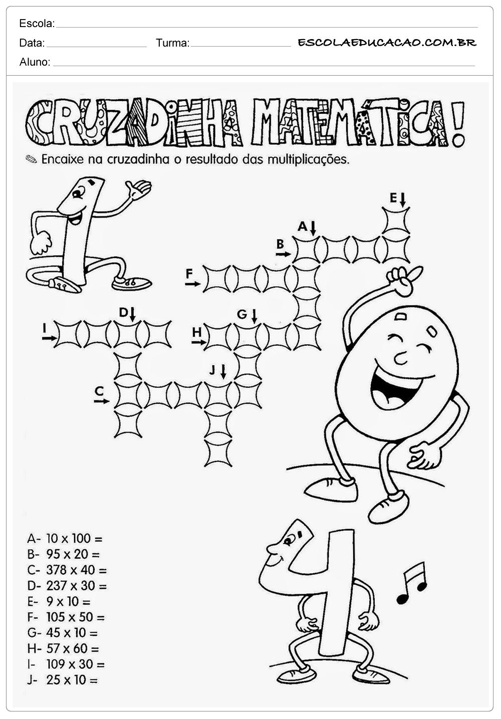 Atividades de Multiplicação 2º ano – Cruzadinha de Matemática