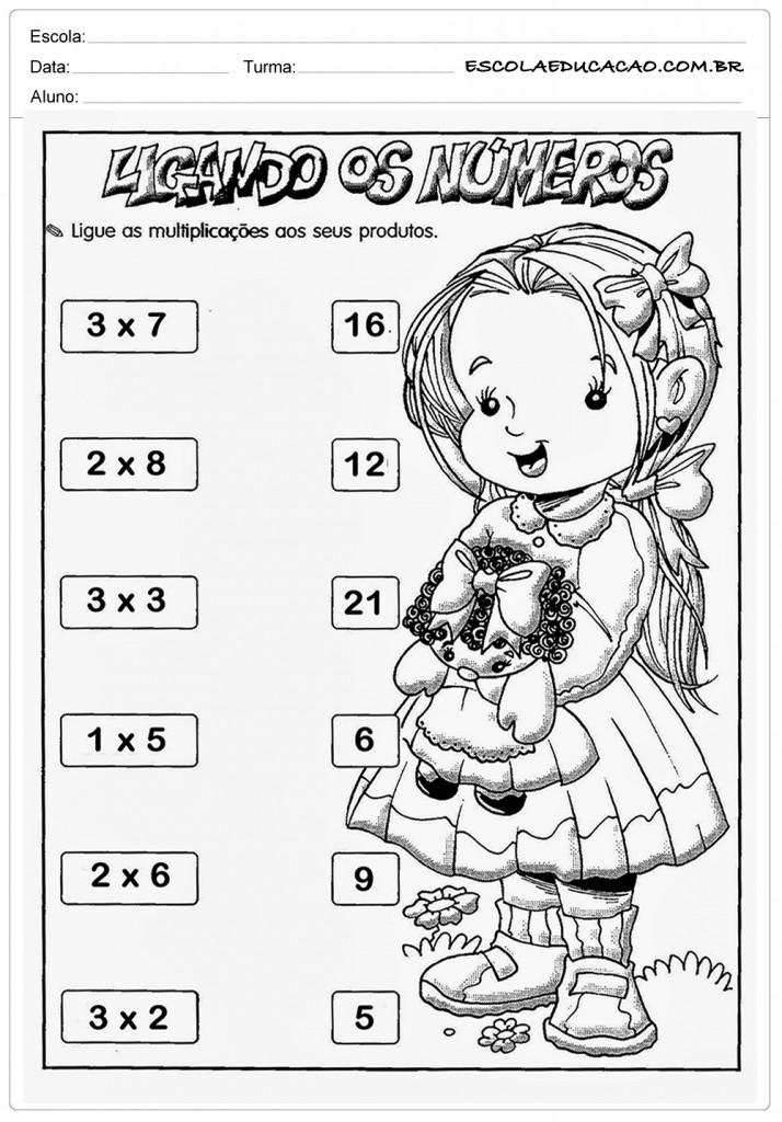 Atividades de Multiplicação 2º ano - Ligando os Números