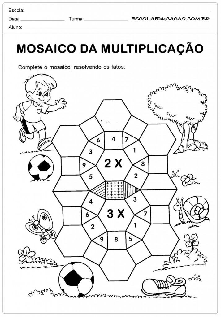 Atividades de Multiplicação 2º ano - Mosaico de Multiplicação