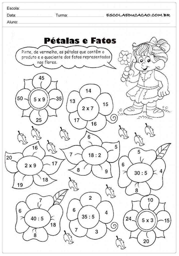 Atividades de Multiplicação 2º ano - Pétalas e Fatos