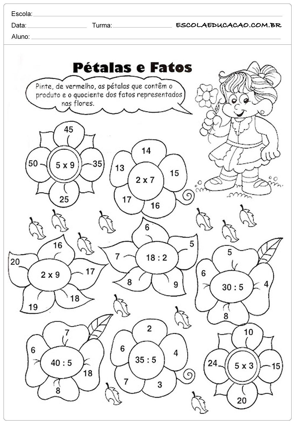 Atividades de Multiplicação 2º ano – Pétalas e Fatos
