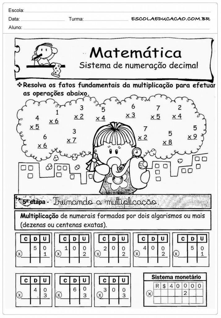 Atividades de Multiplicação 2º ano - Numeração Decimal