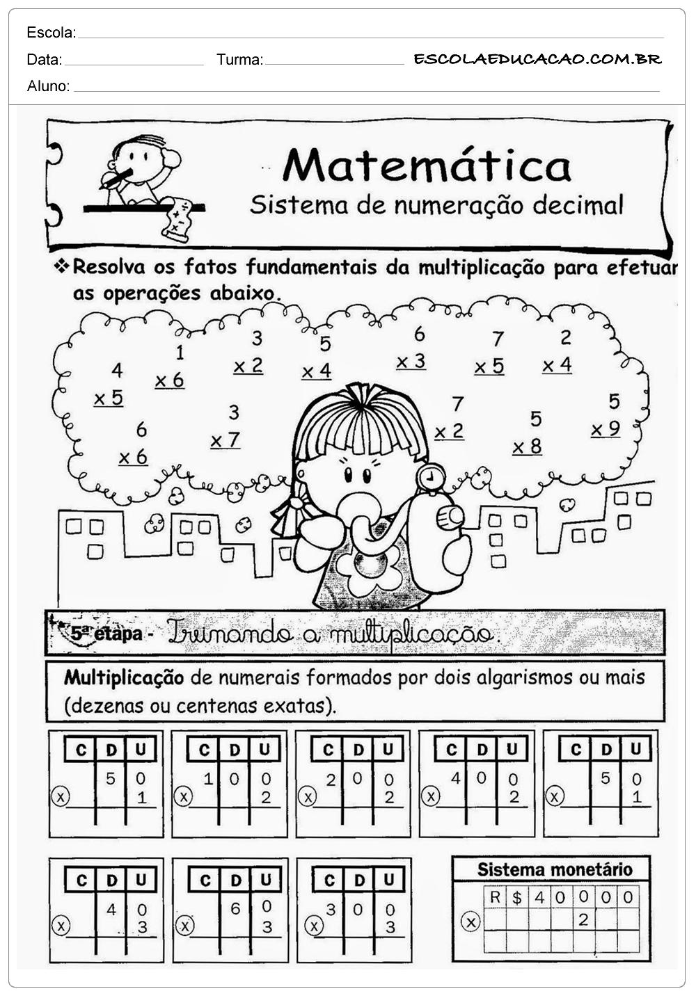 Atividades de Multiplicação 2º ano – Numeração Decimal