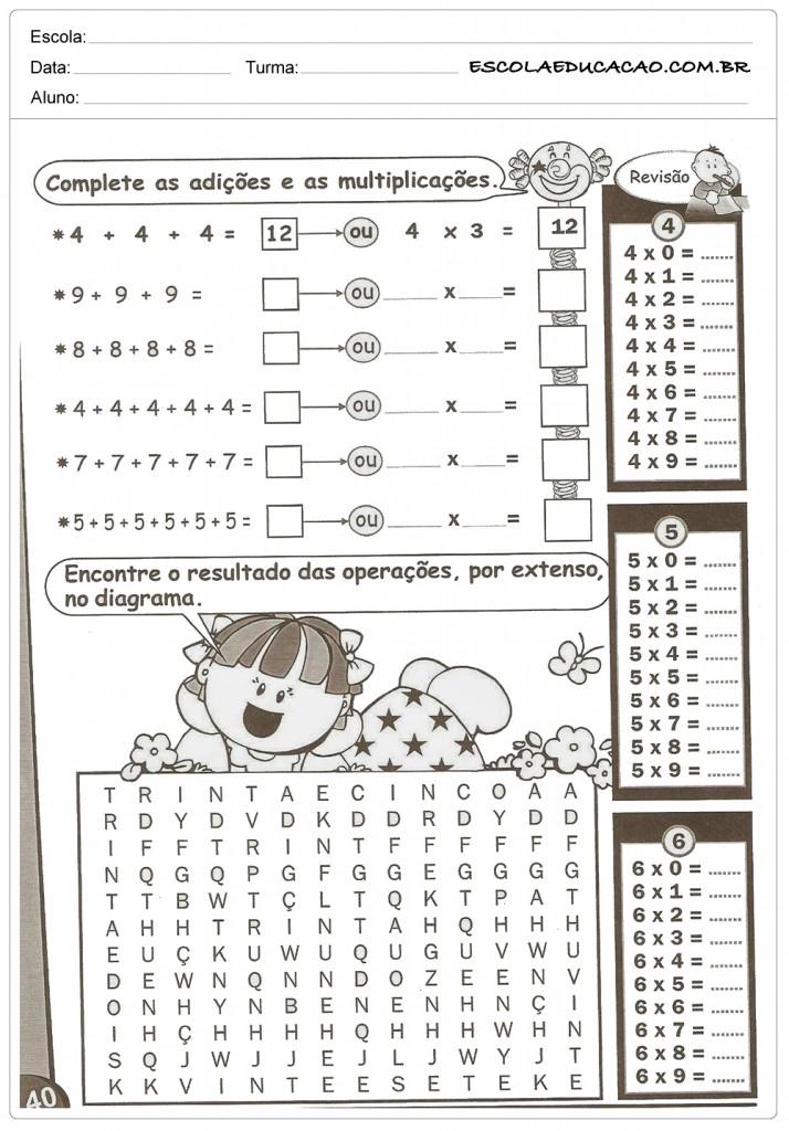 Atividades de Multiplicação - Adição e Multiplicação