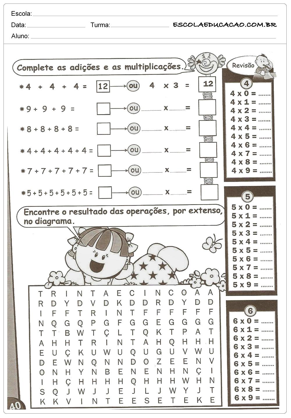 Atividades de Multiplicação – Adição e Multiplicação