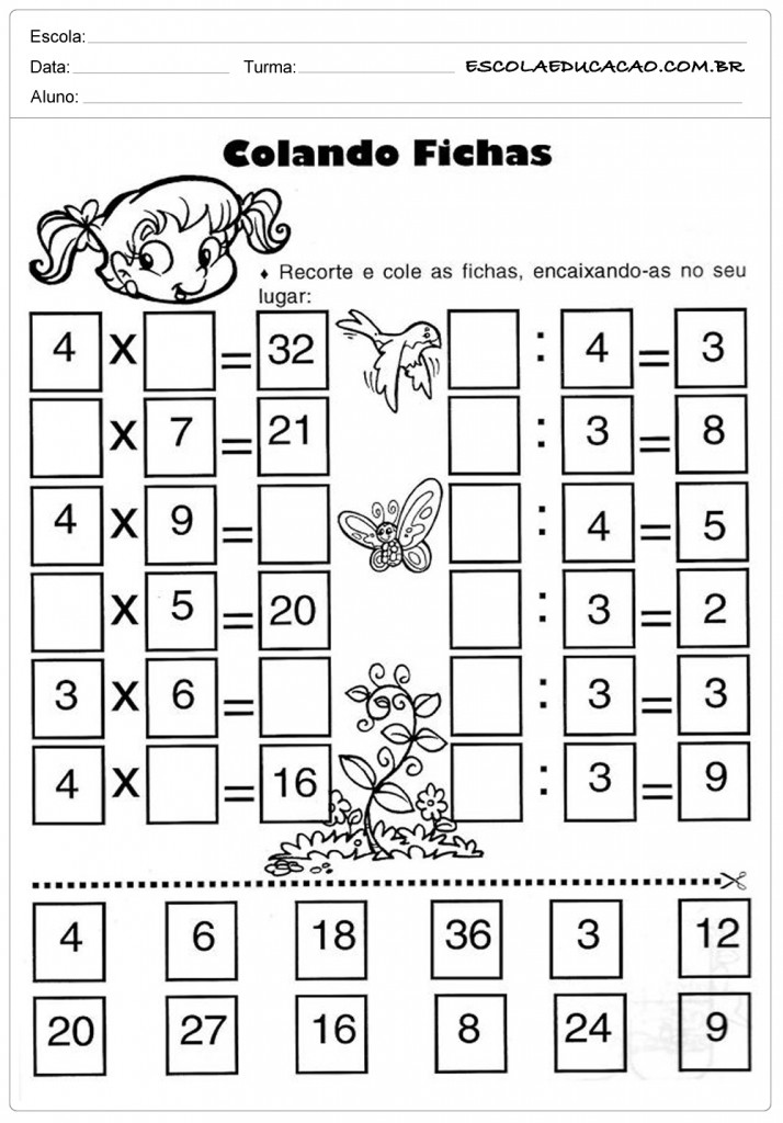 Atividades de Multiplicação - Colando Fichas