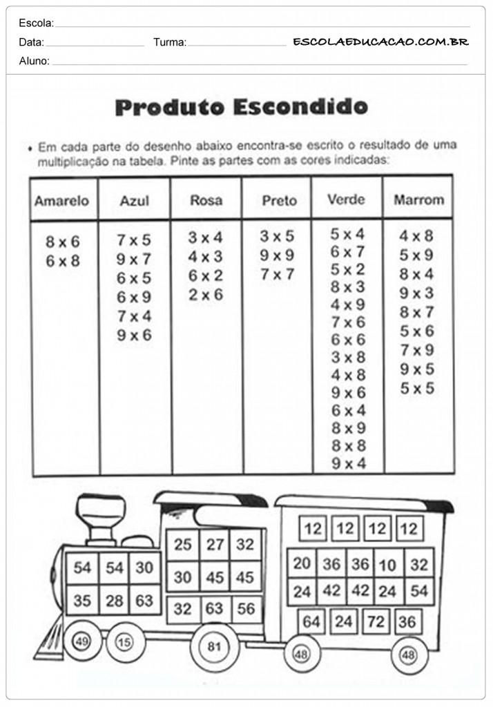 Atividades de Multiplicação - Produto Escondido