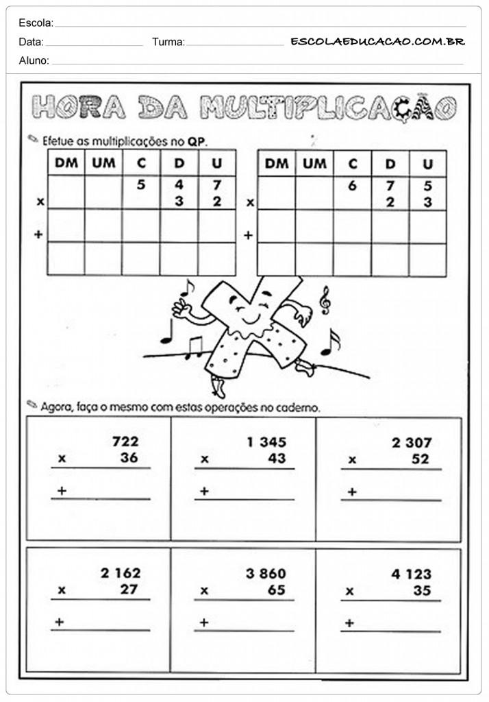 Atividades de Multiplicação - Hora da Multiplicação