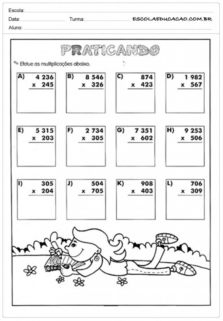 Atividades de Multiplicação - Praticando