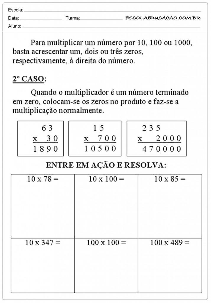 Atividades de Multiplicação 5º ano - Entre e Resolva