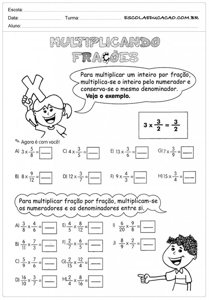 Atividades de Multiplicação 5º ano - Multiplicando Frações
