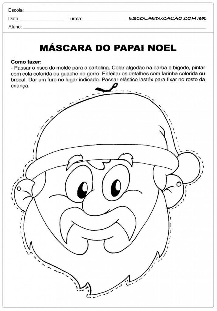 Atividades de Natal - Máscara do Papai Noel