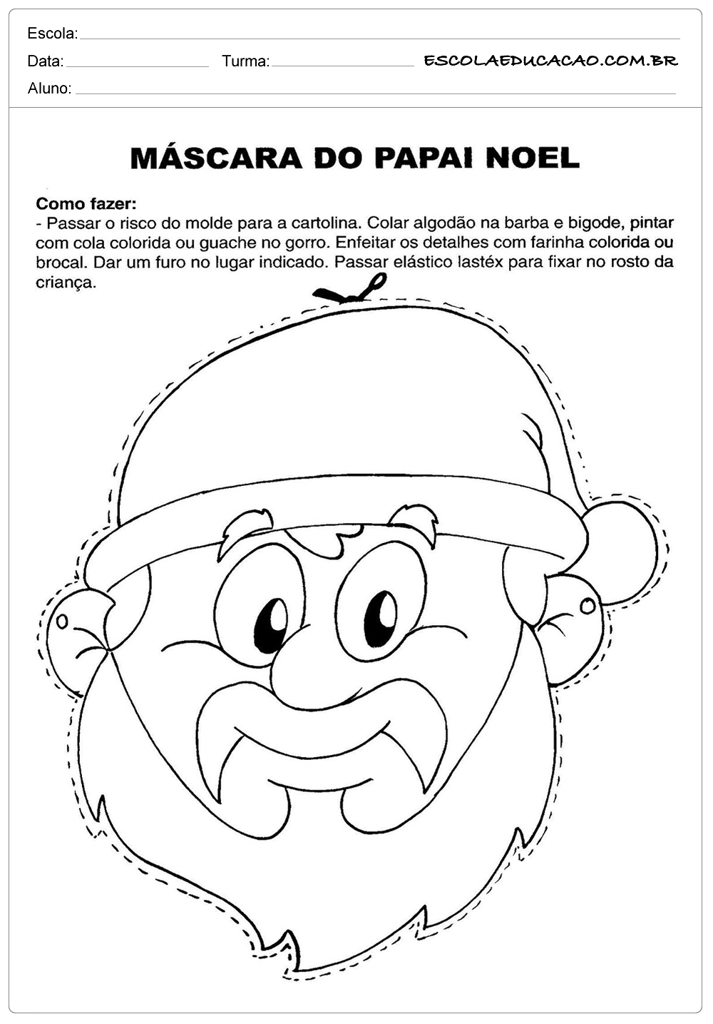 Atividades de Natal – Máscara do Papai Noel