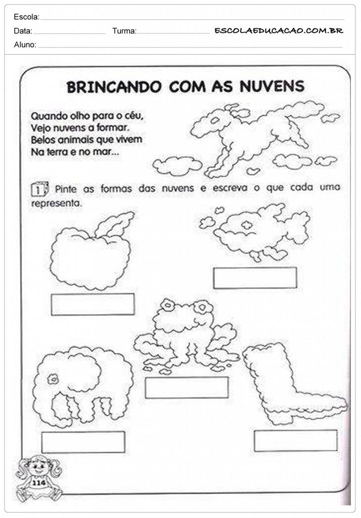 Atividades de Português 1º ano - Brincando com as nuvens