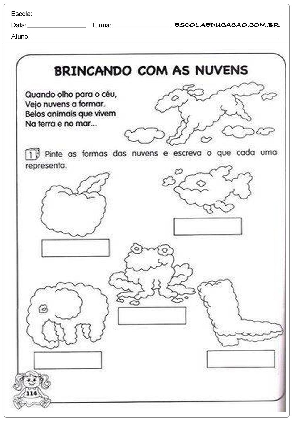 Atividades de Português 1º ano – Brincando com as nuvens