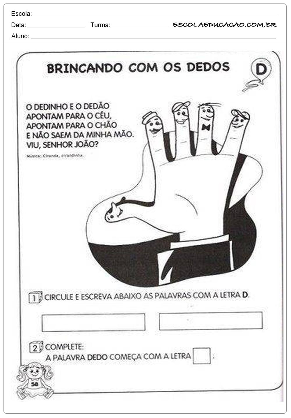 Atividades de Português 1º ano – Brincando com os dedos