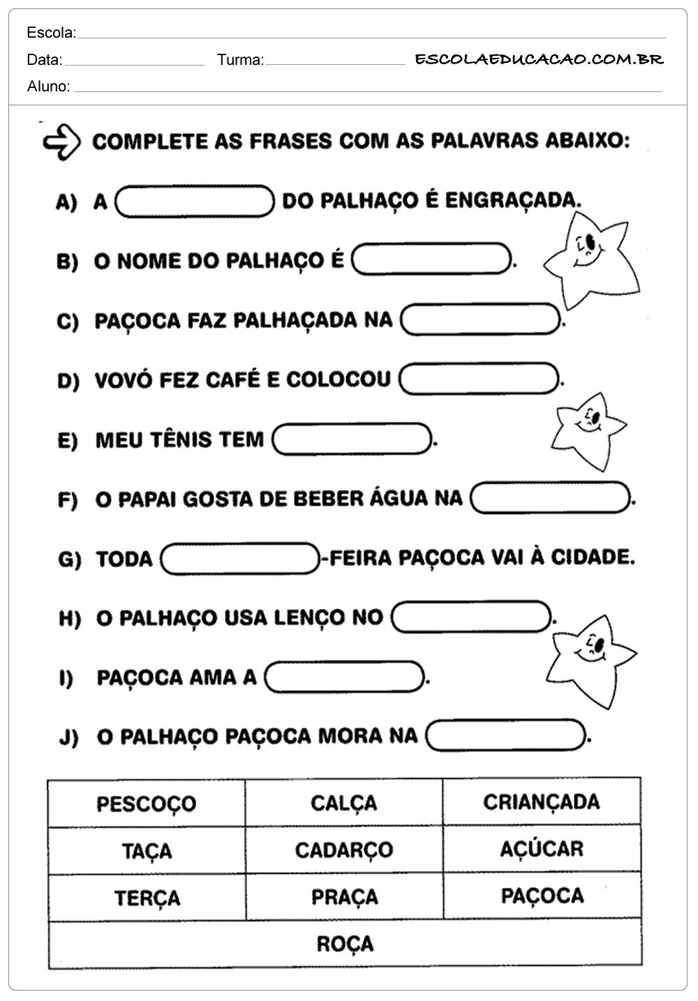 Atividades de Português 1º ano – Complete as frases
