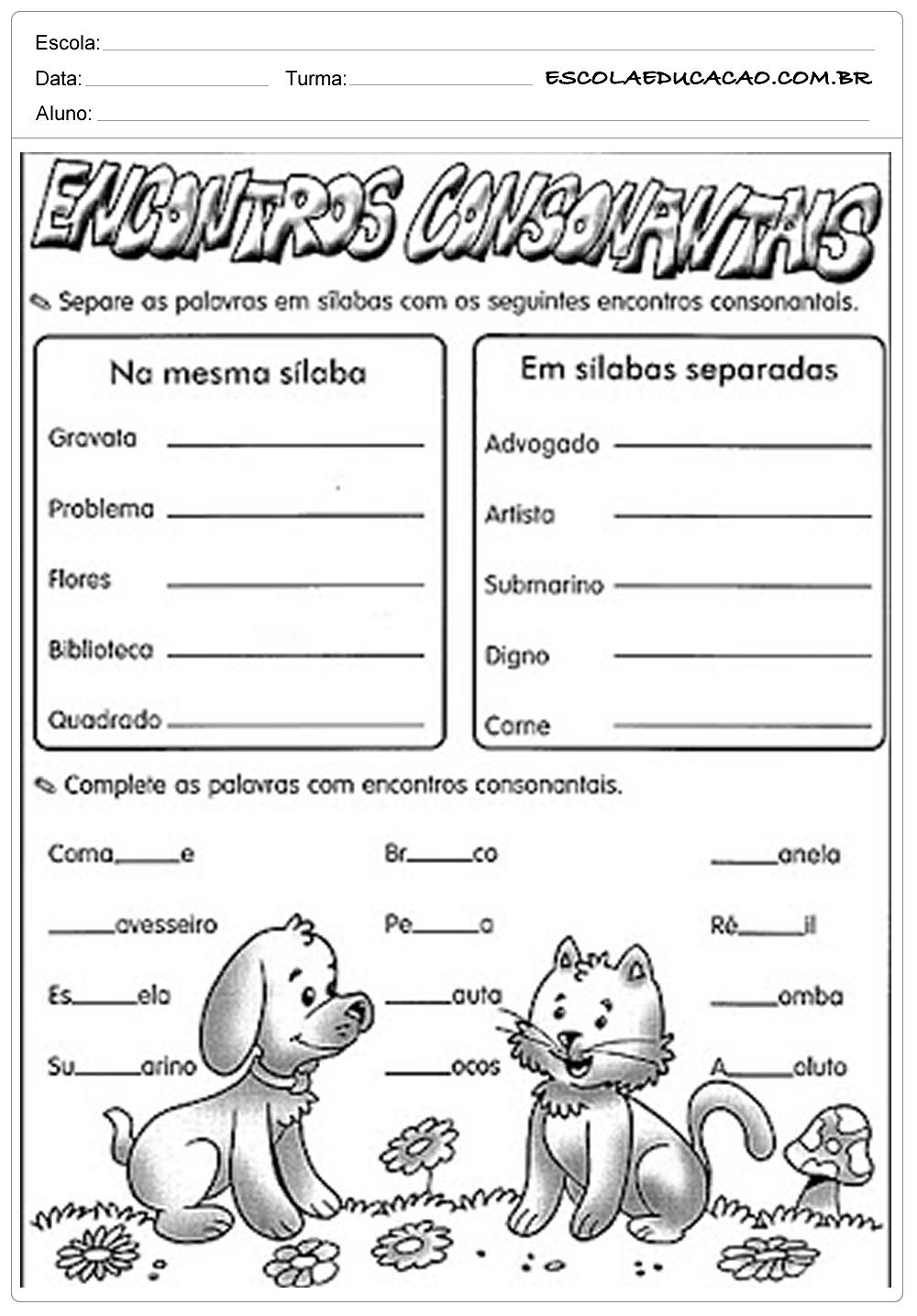Atividades de Português 1º ano – Consoantes