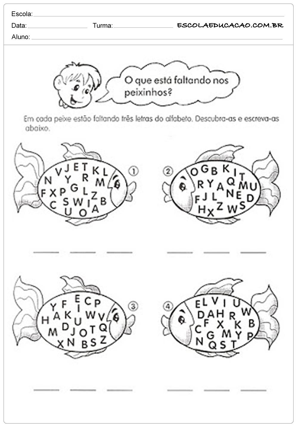 Atividades de Português 1º ano – Descubra a palavra