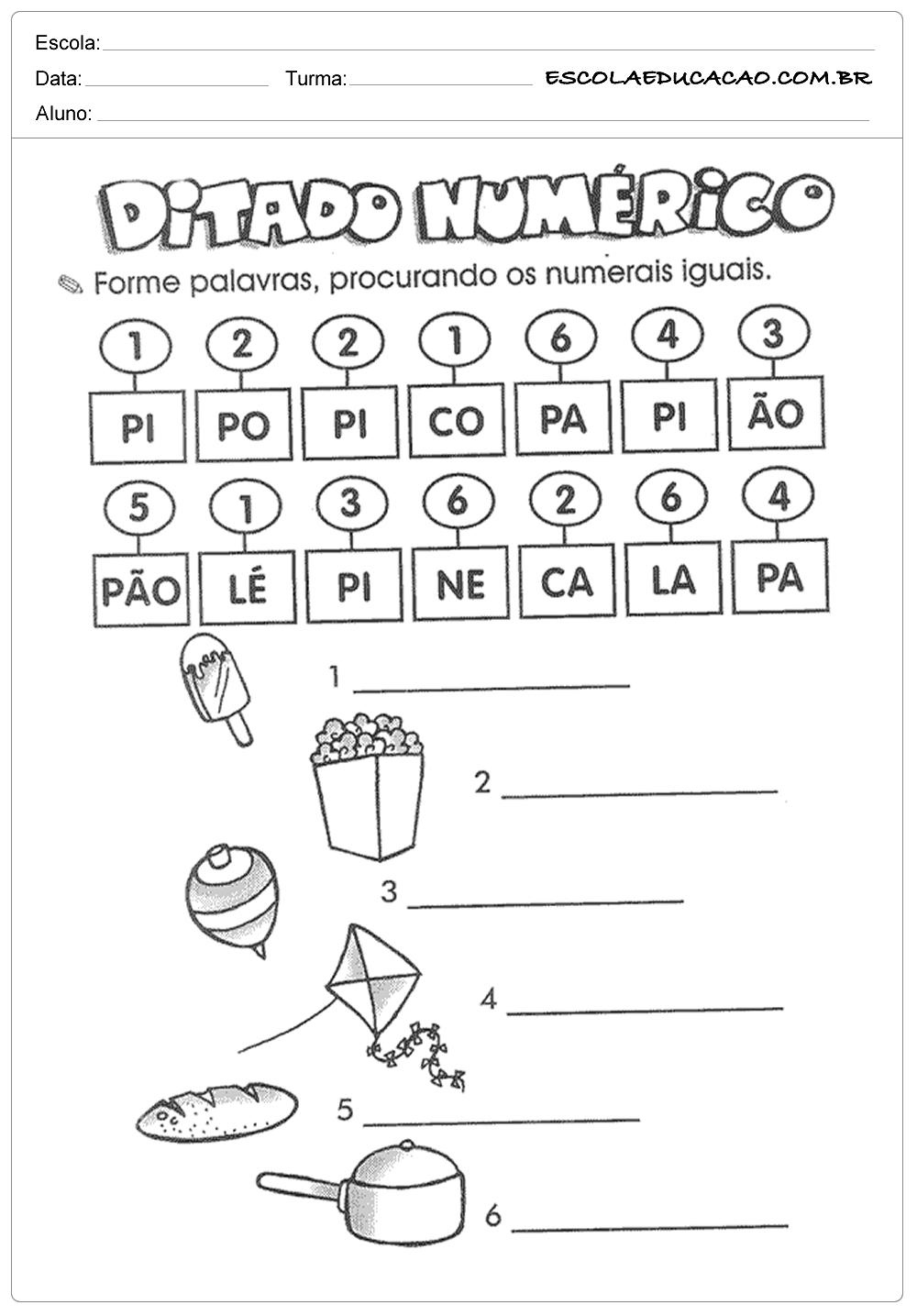 Atividades de Português 1º ano – Ditado numérico
