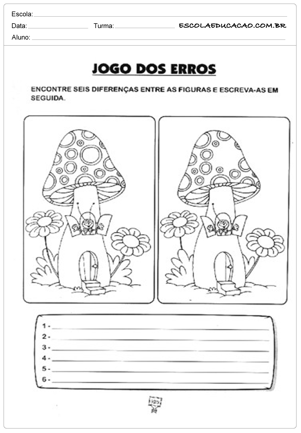 Atividades de Português 1º ano – Jogo dos erros