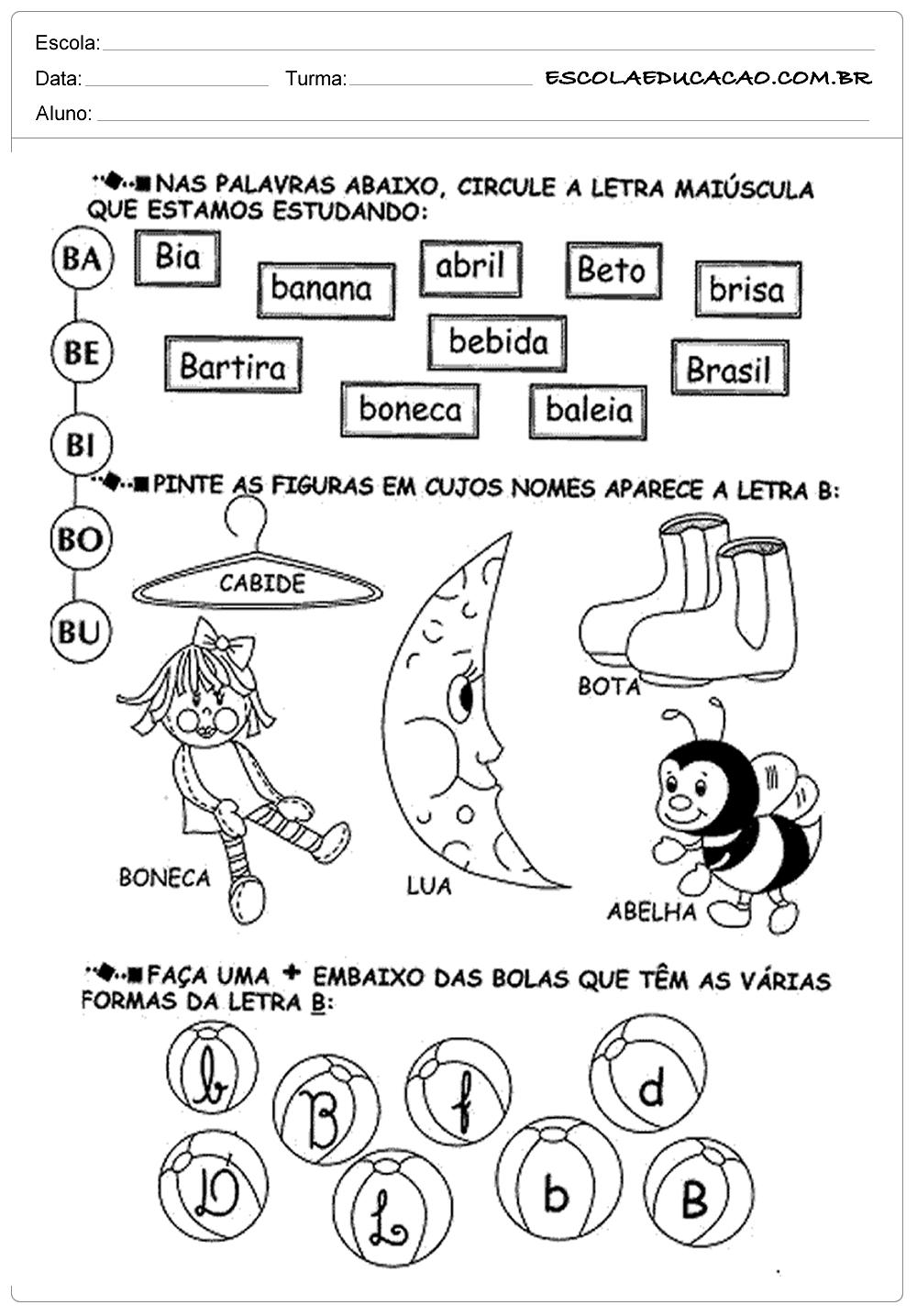 Atividades de Português 1º ano – Letras maiúsculas