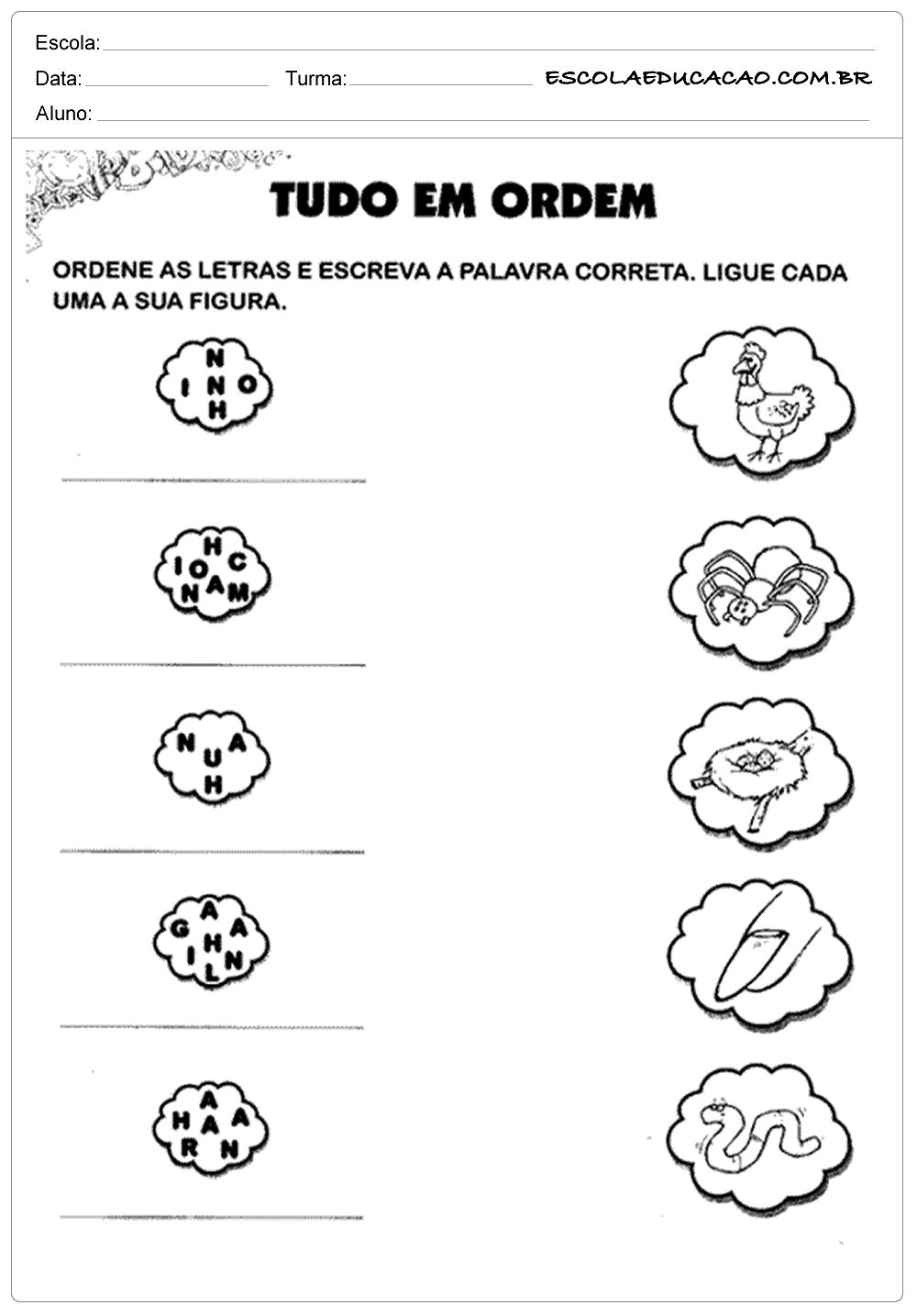 Atividades de Português 1º ano – Ordenando as palavras