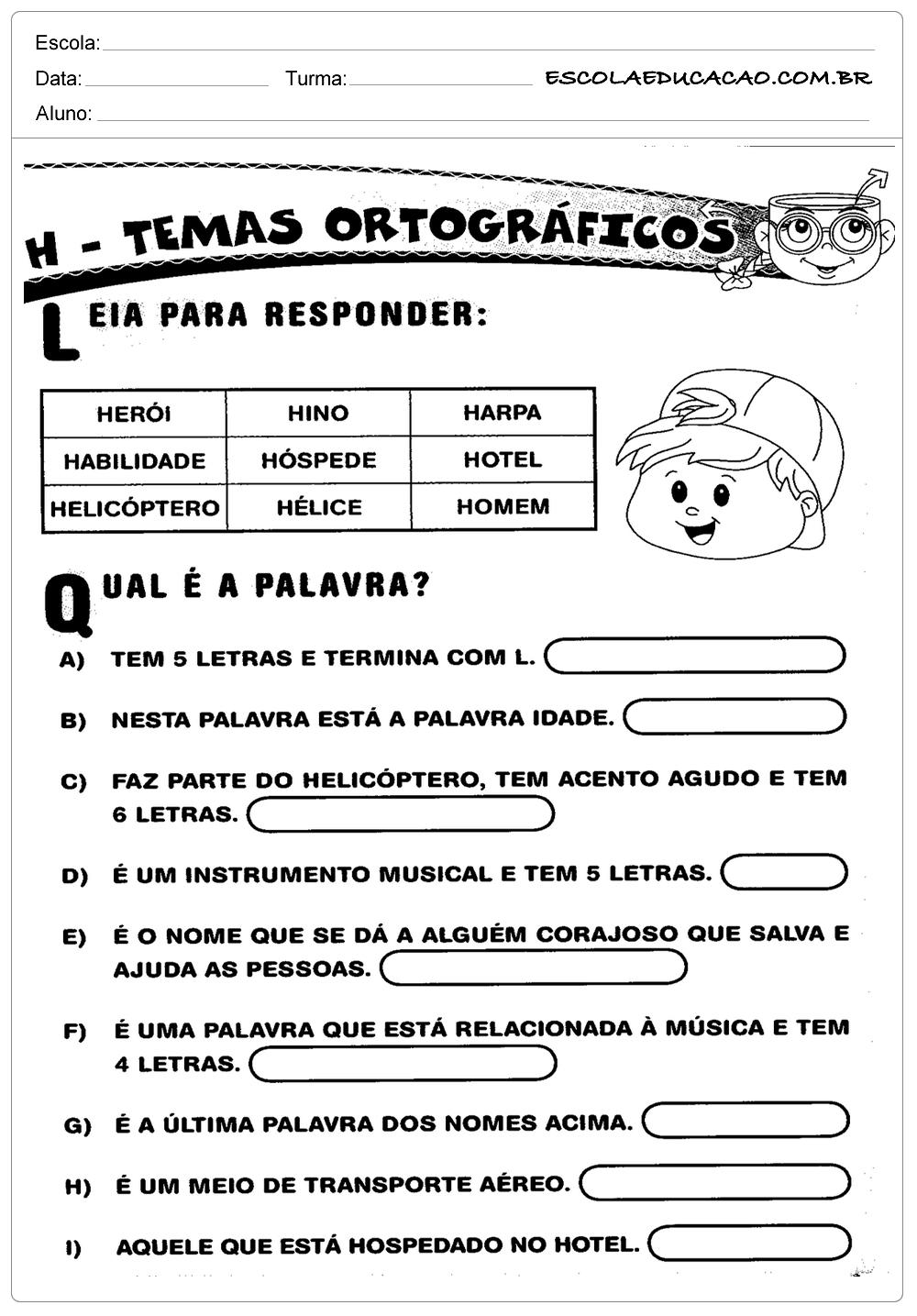 Atividades de Português 1º ano – Ortografia