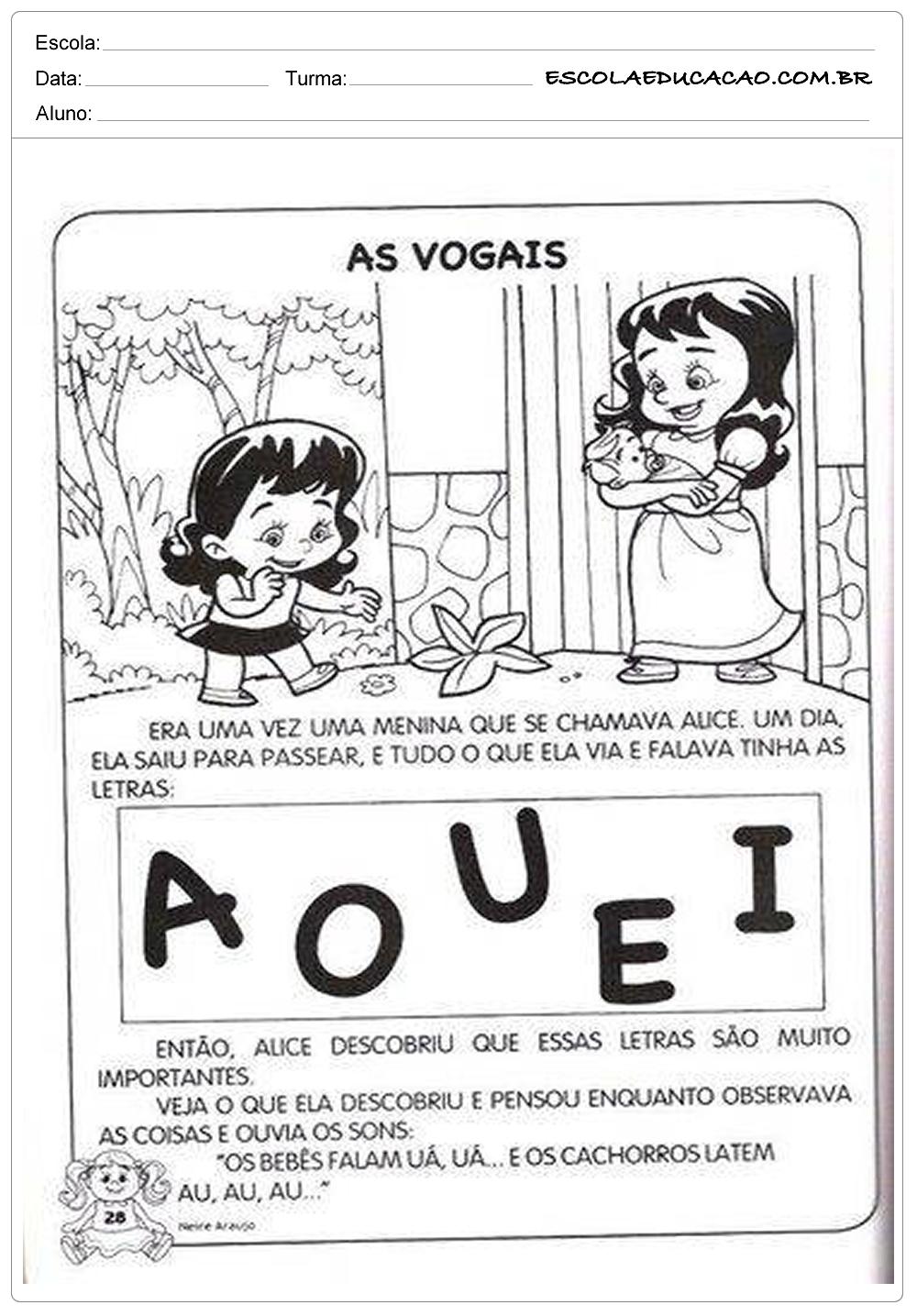 Atividades de Português 1º ano – Vogais
