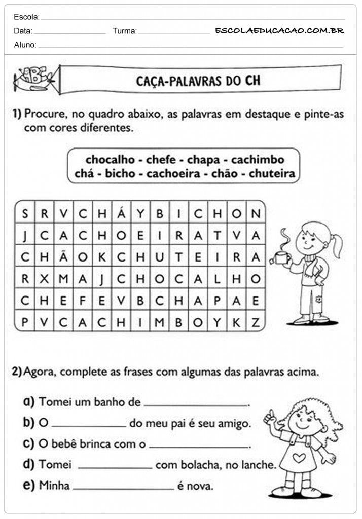 Atividades de Português 2º ano - Caça palavras CH