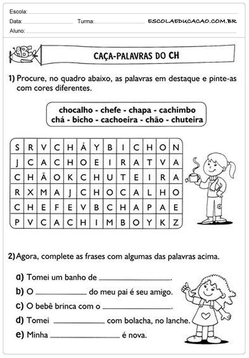 Atividades de Português 2º ano – Caça palavras CH