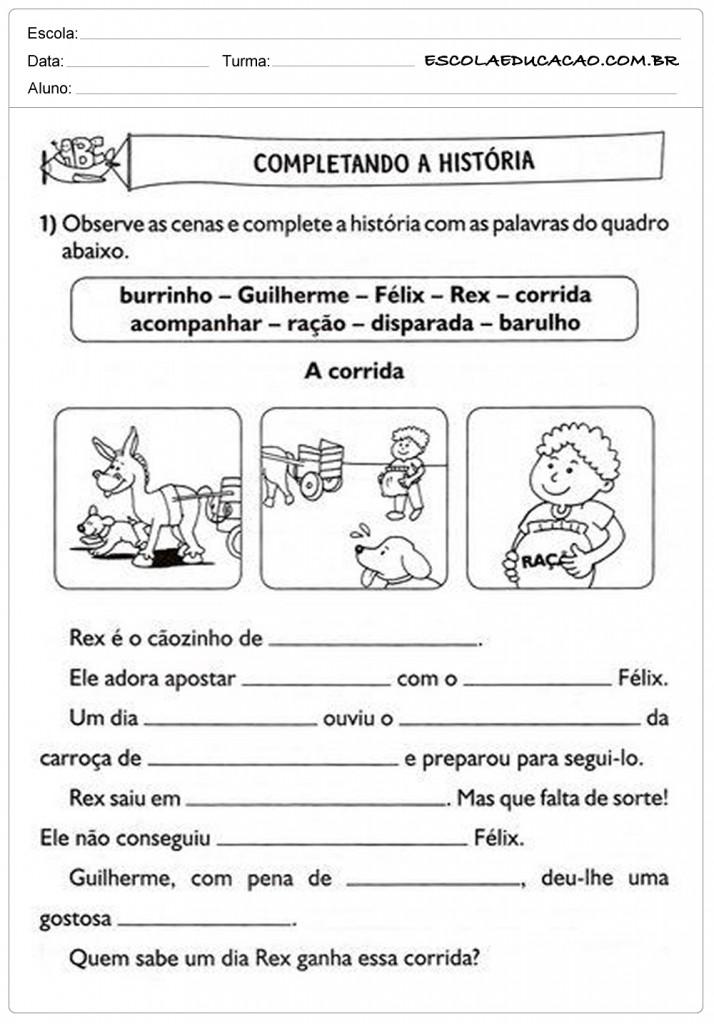 Atividades de Português 2º ano - Completando a História