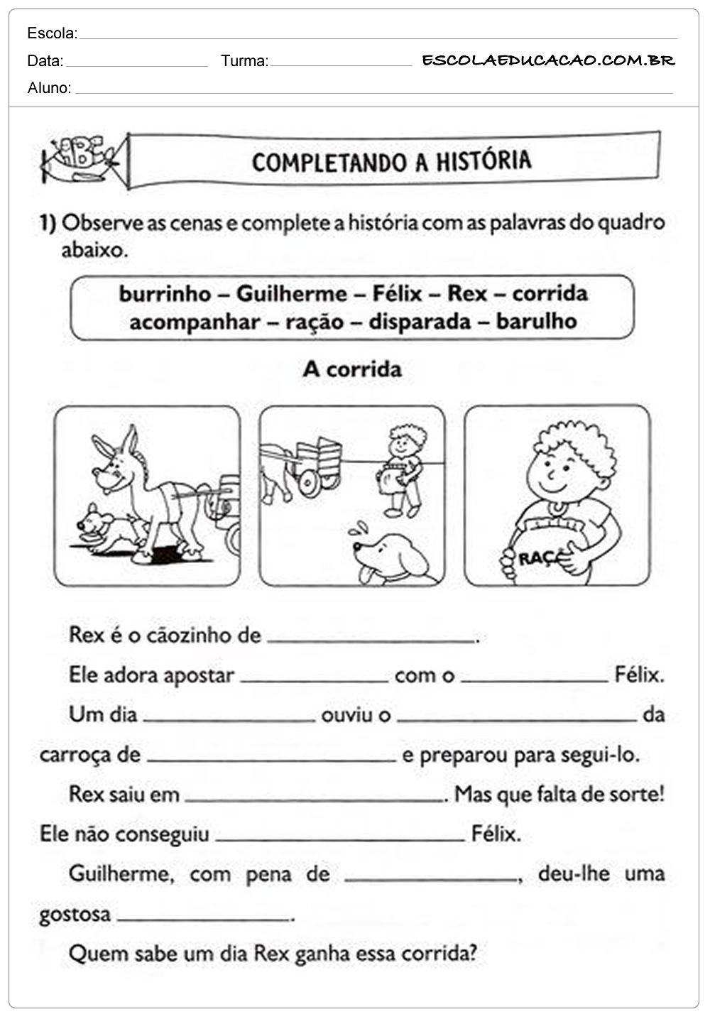 Atividades de Português 2º ano – Completando a História