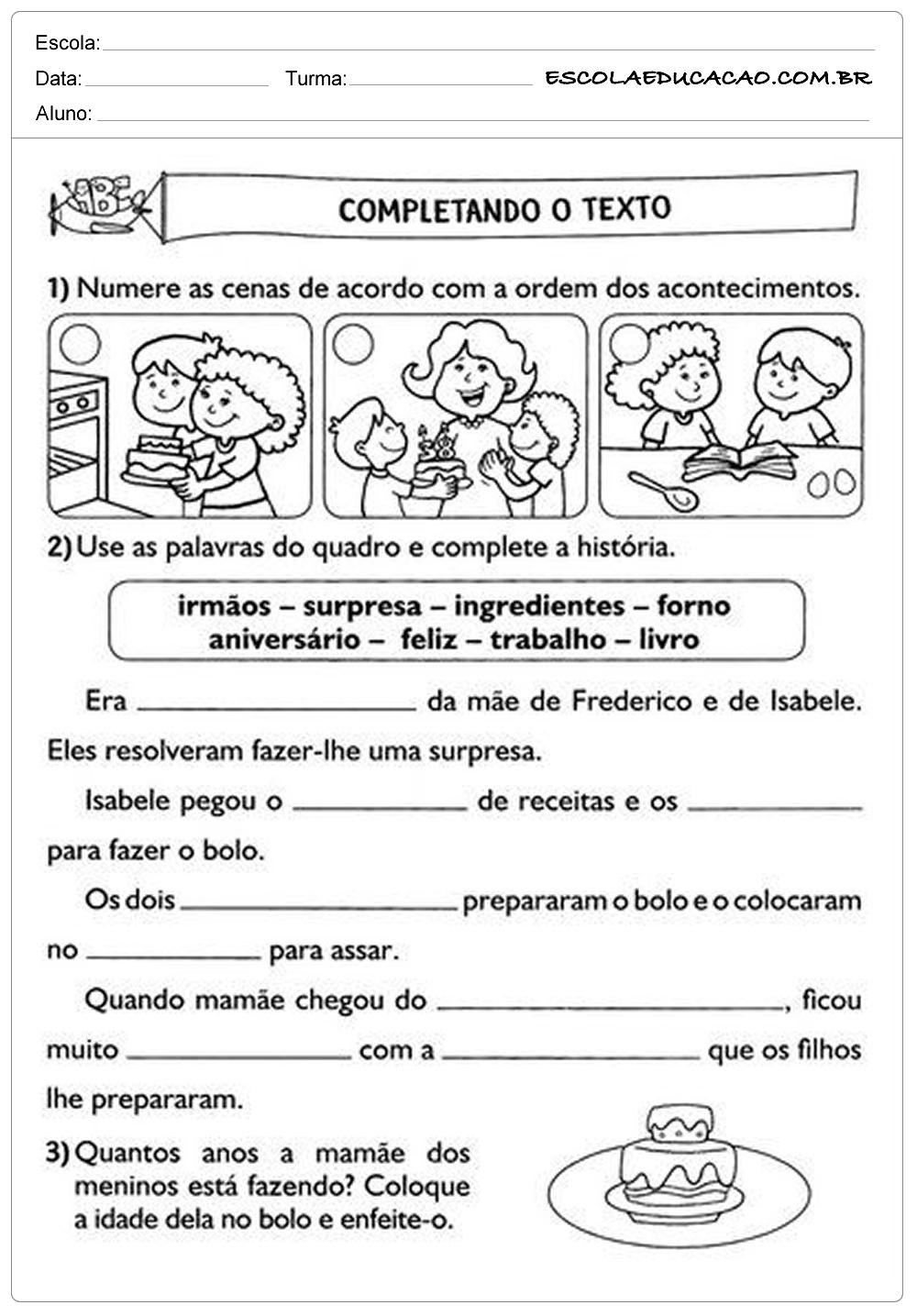 Atividades de Português 2º ano – Completando o Texto