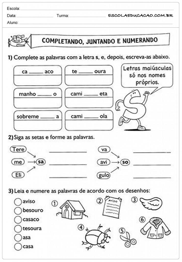 Atividades de Português 2º ano - Completando, Juntando e numerando