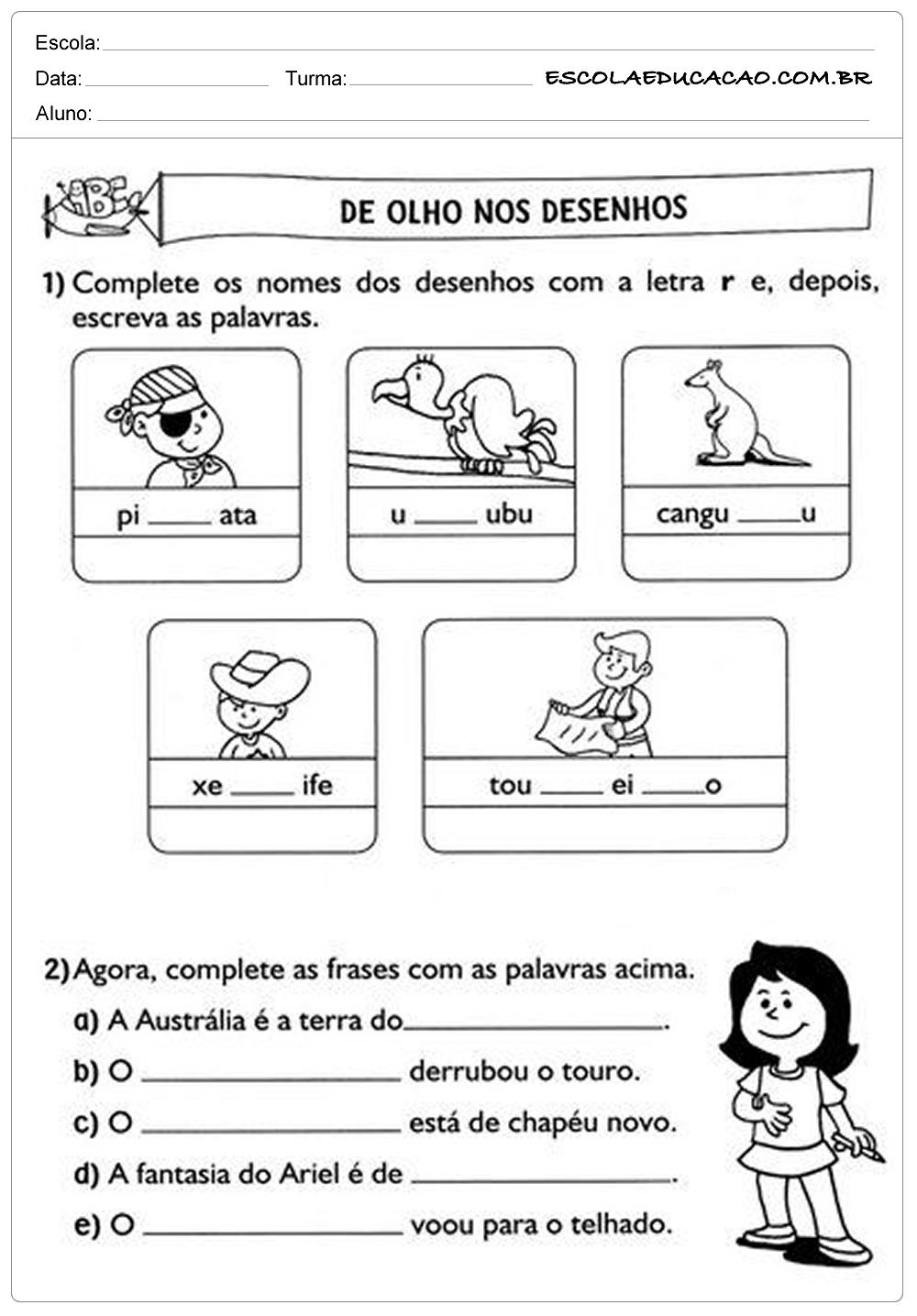 Atividades de Português 2º ano – De olho nos desenhos