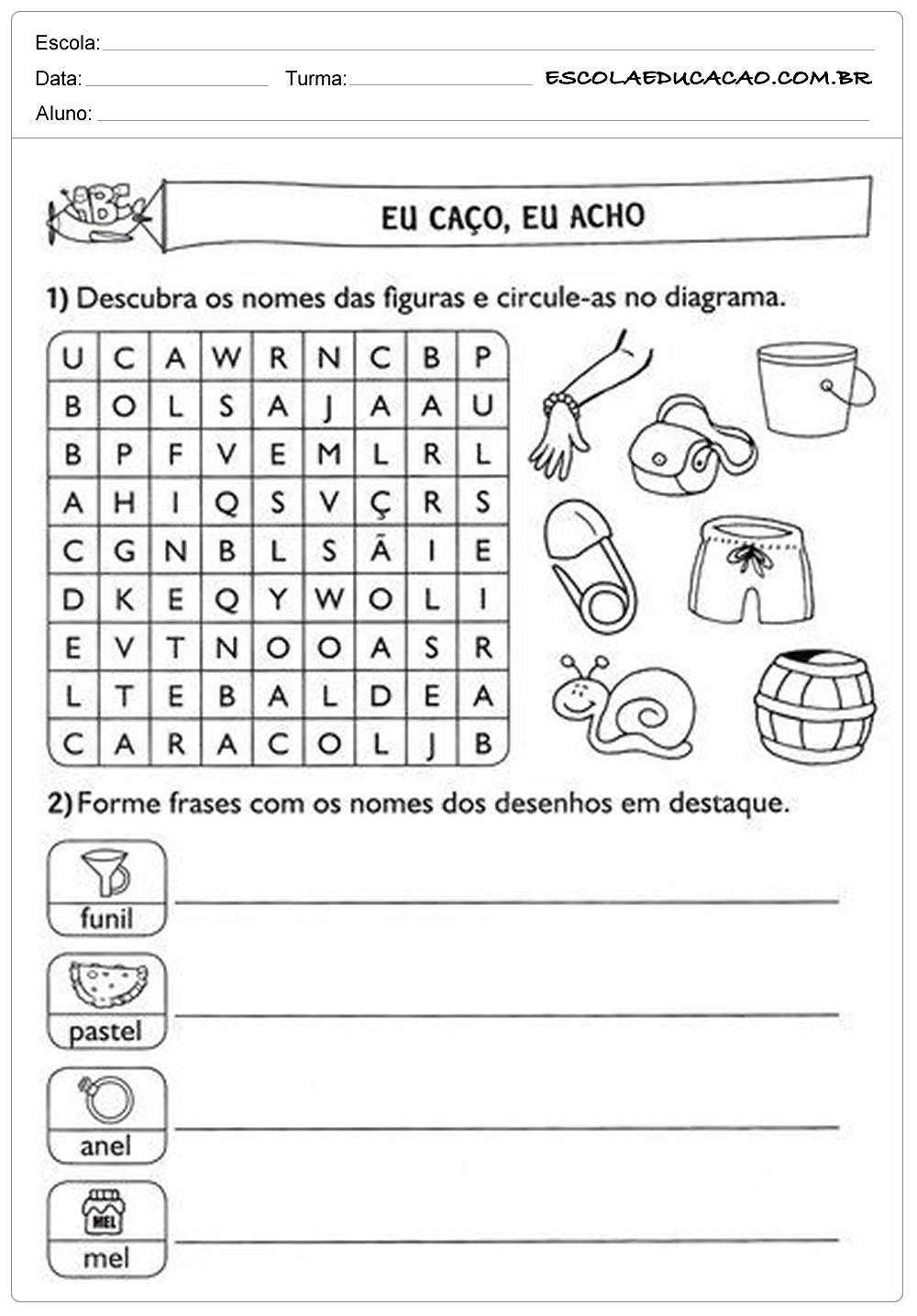 Atividades de Português 2º ano – Diagrama