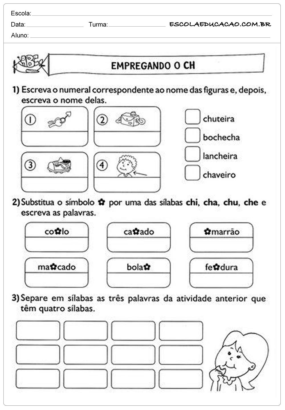 Atividades de Português 2º ano – Empregando o CH