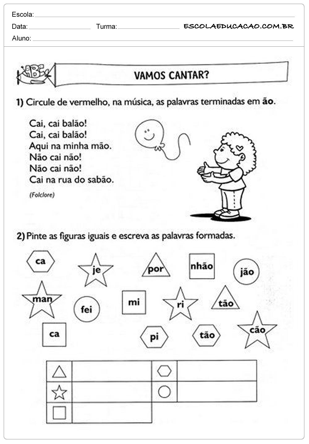 Atividades de Português 2º ano – Música