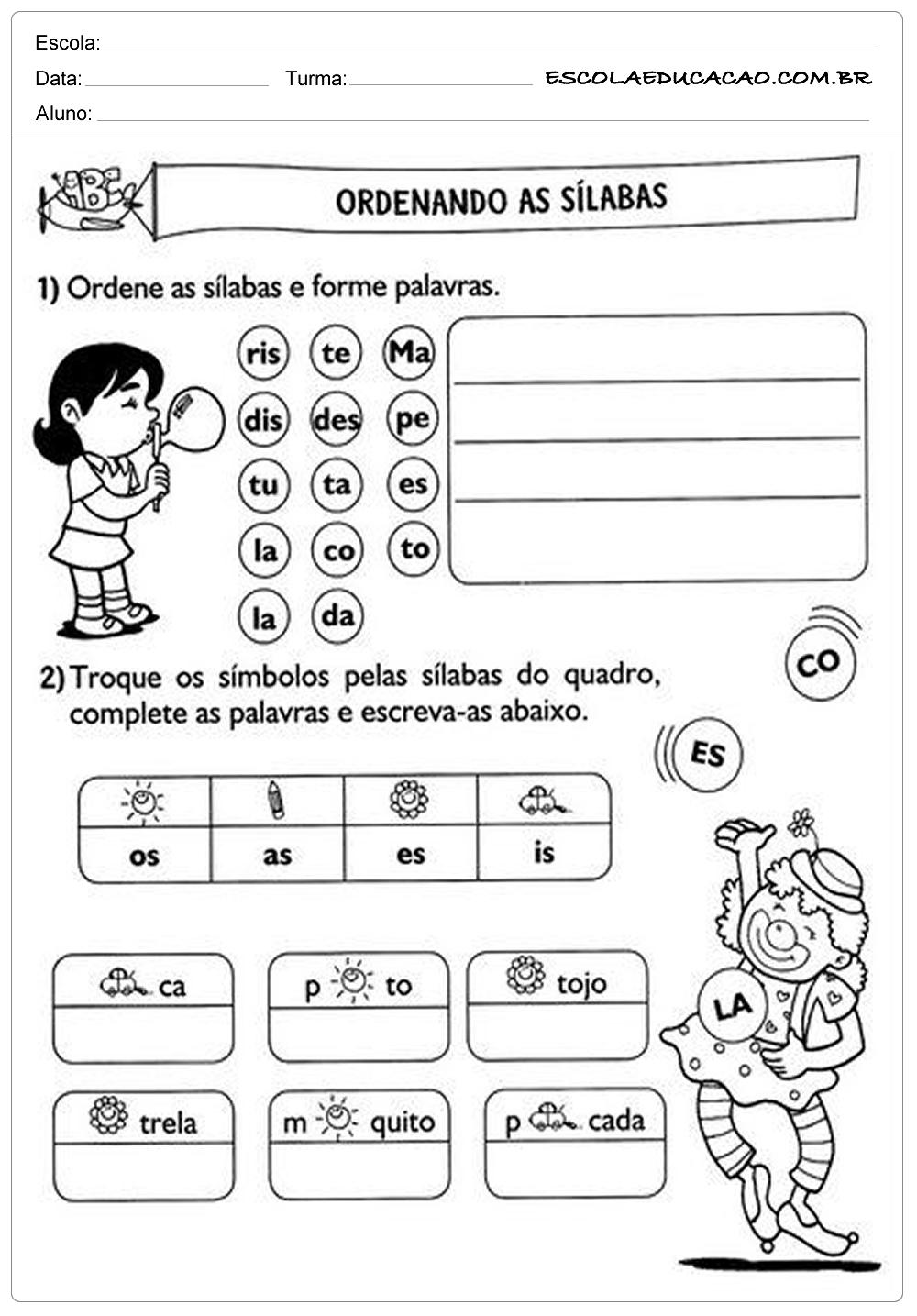 Atividades de Português 2º ano – Ordenando as Sílabas