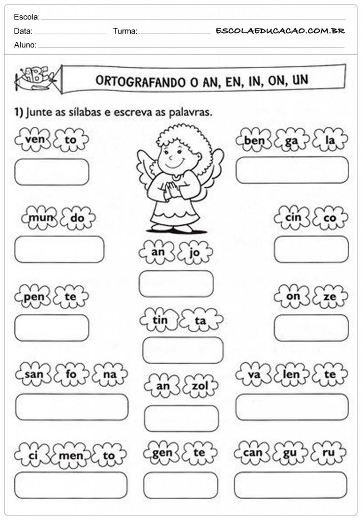 Atividades de Português 2º ano - Ortografia an, en, in, on e un