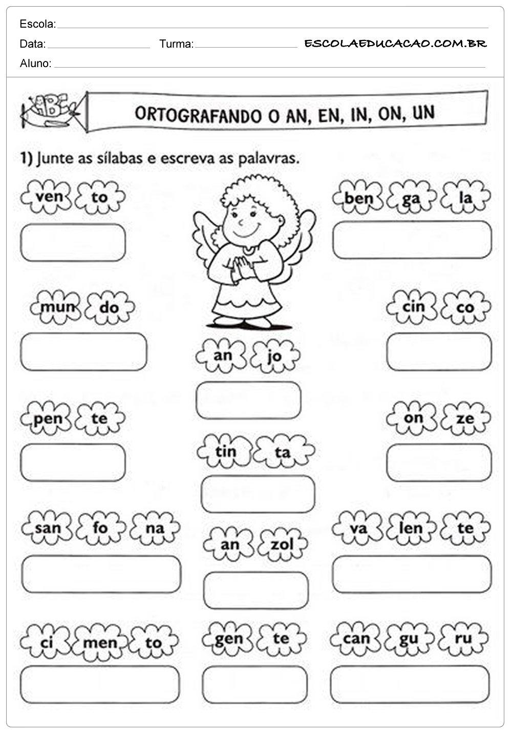Atividades de Português 2º ano – Ortografia an, en, in, on e un