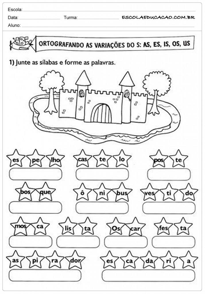 Atividades de Português 2º ano - Ortografia as, es, is, os e us