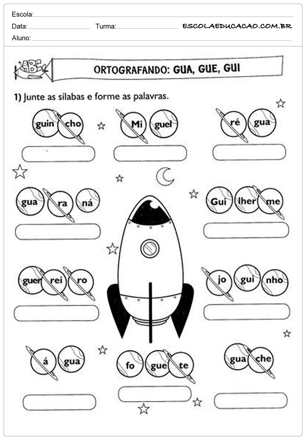 Atividades de Português 2º ano – Ortografia gua, gue e gui