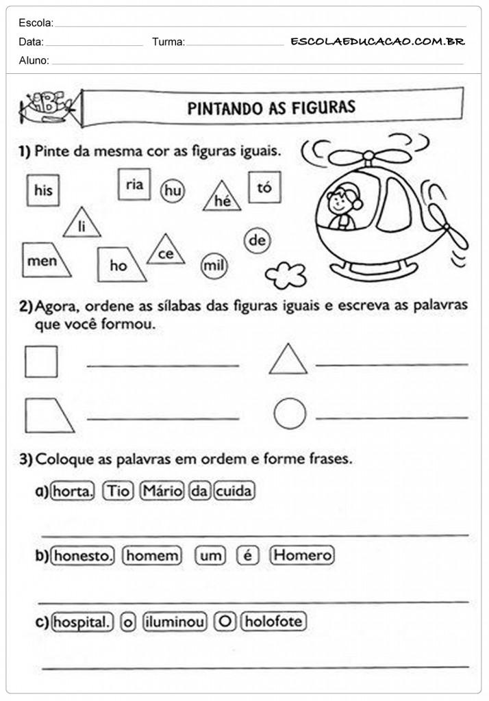 Atividades de Português 2º ano - Pintando as figuras