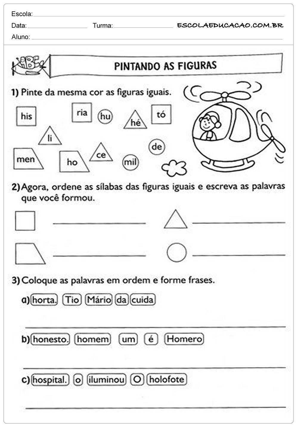 Atividades De Português 2º Ano Pintando As Figuras Escola Educação