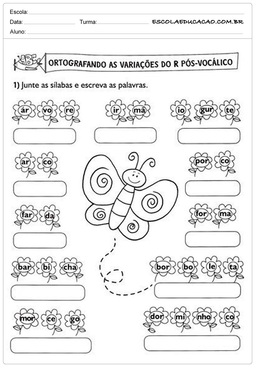 Atividades de Português 2º ano – Variações do R