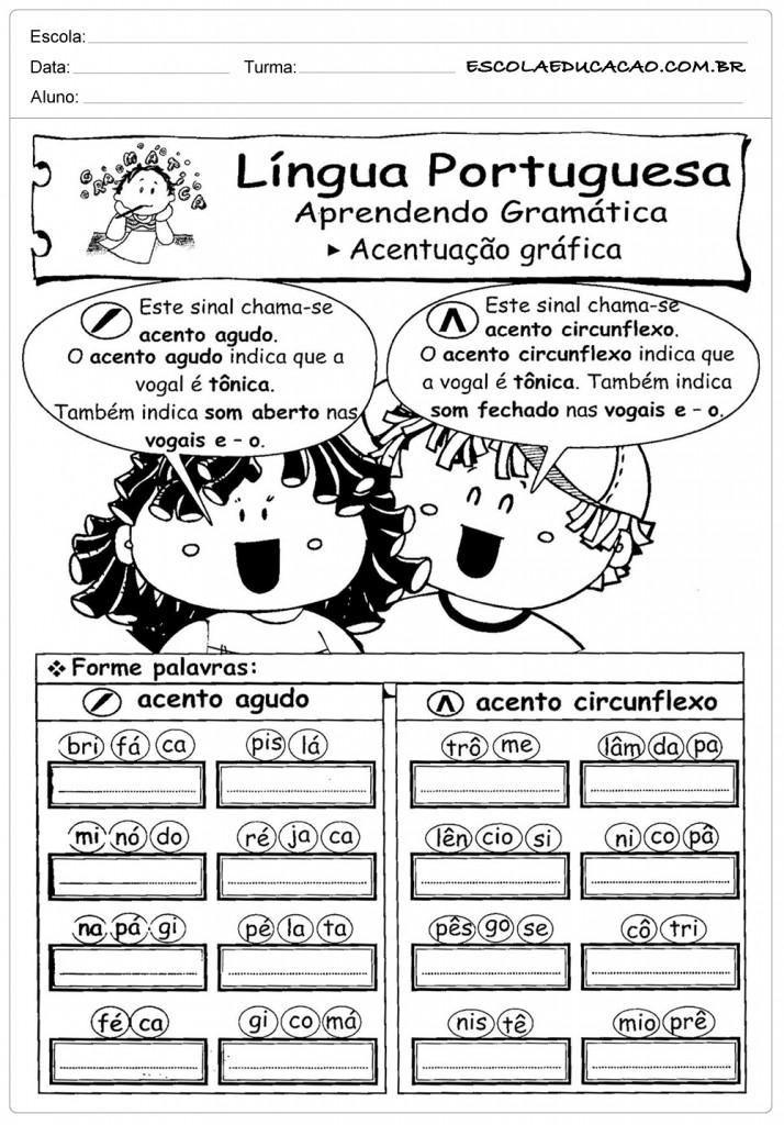 Atividades de Português 3º ano - Acentuação Gráfica